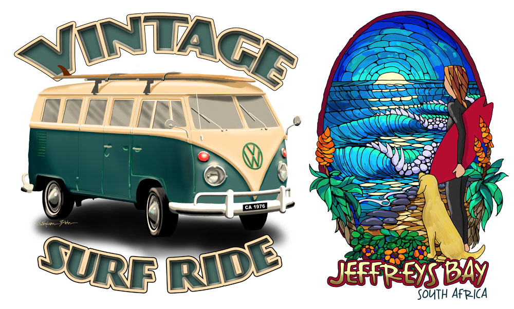 Digital illustrations of T-Shirt designs, the stained glass effect using the digital water-colour brush in Corel Painter, and the VW bus using the digital airbrush tool.