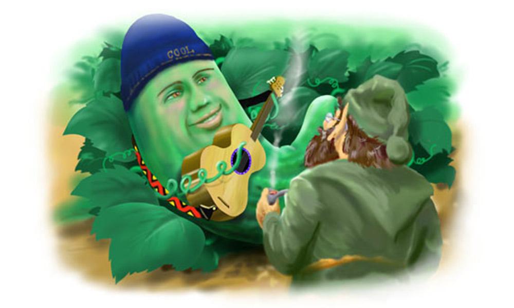 'Cucumber Rock' digital airbrush illustration for Grampa Story Book.