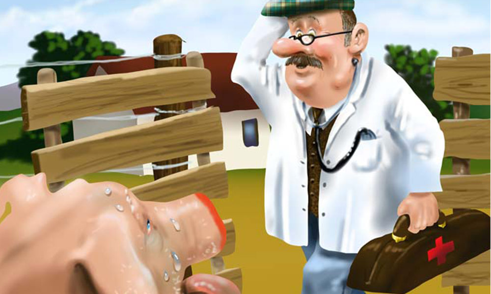 'Piggy over-eats' digital airbrushed illustration for Grampa Story book.