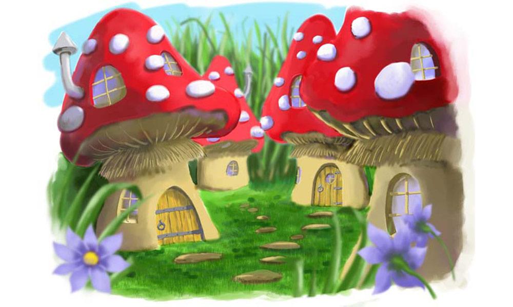 'Mushie Homes' Digital Airbrush illustration for Grampa Story book.