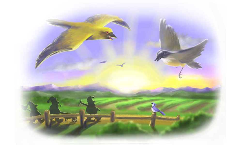 'Off to work we go' Digital Airbrush illustration for Grampa Story Book.