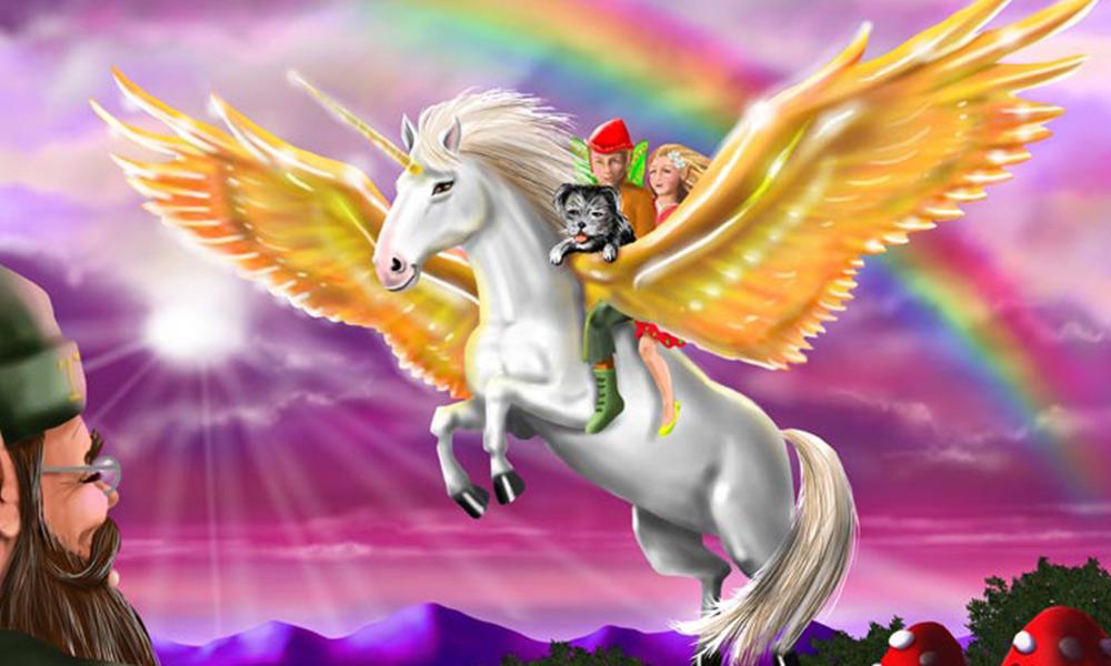 'Rainbow Flight' rom the Grampa Story Book. Digital Airbrush, using Wacom Tablet.