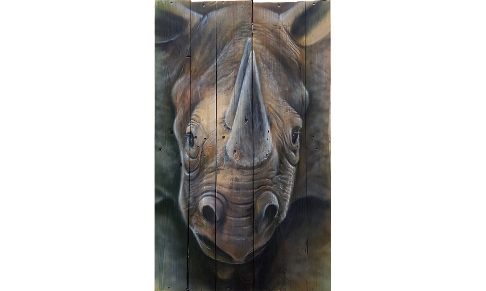 Airbrushed Acrylic Painting on rough wood. 'Rhino' 470mmx820mm