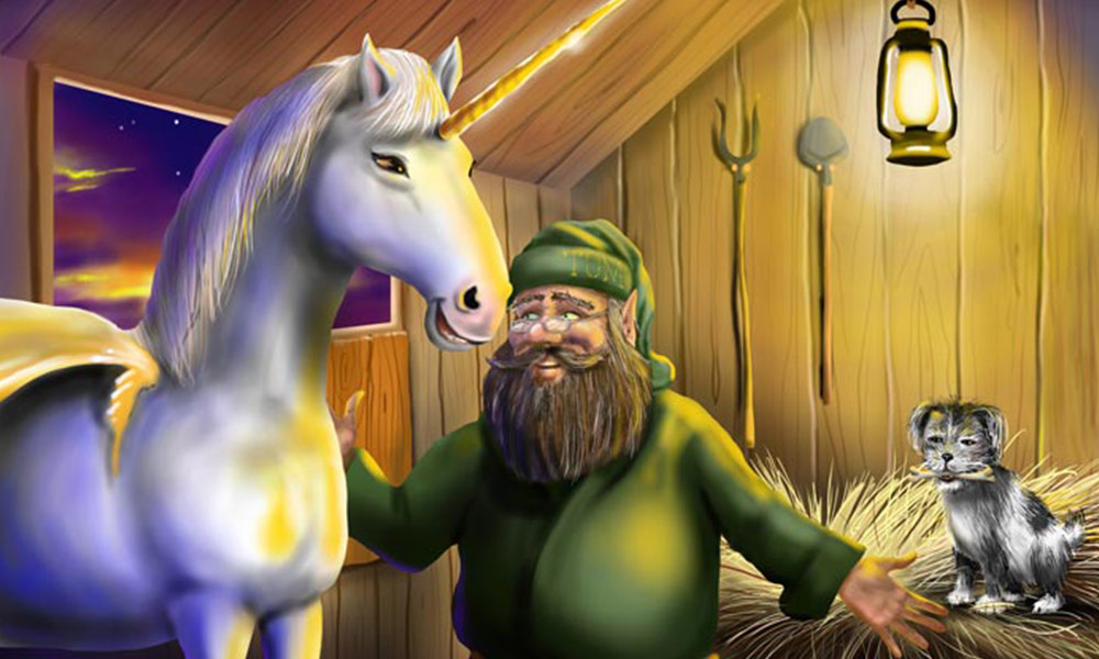 'Tom in the Stable' from the Grampa Book. Digital Airbrushed using the Corel Painter Software and Wacom Tablet.