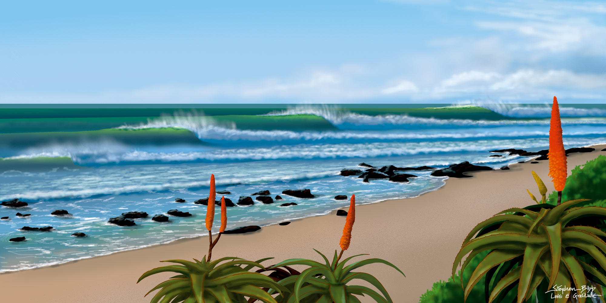 A digital Illustration of Supertubes, J-Bay, South Africa. Created with the digital Airbrush and the wacom tablet.