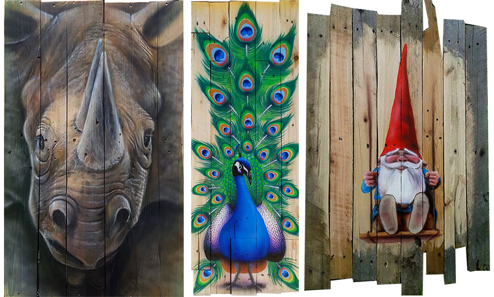 Airbrushed art on rough pallet wood. The rhino, peacock and Gnome for 3 very different effects.